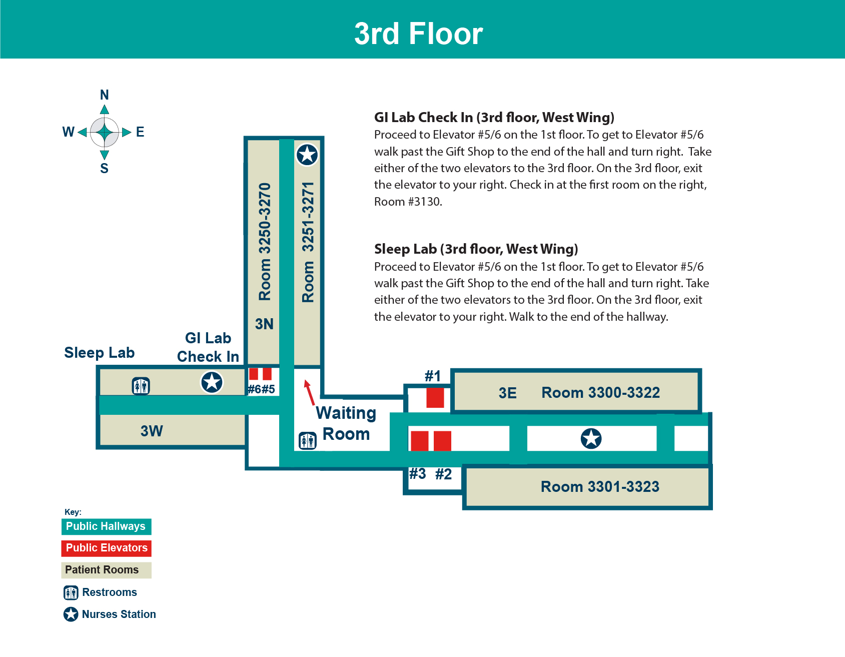 FHN Memorial Hospital third floor layout